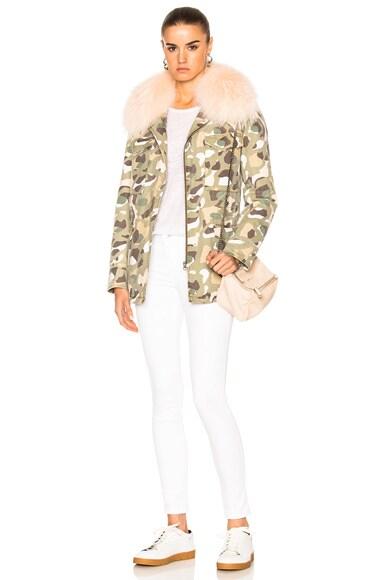 Cotton Jacket With Raccoon & Rabbit Fur
