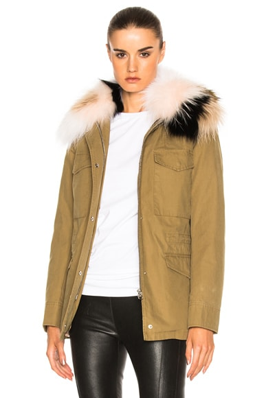 Cotton Jacket with Raccoon Fur