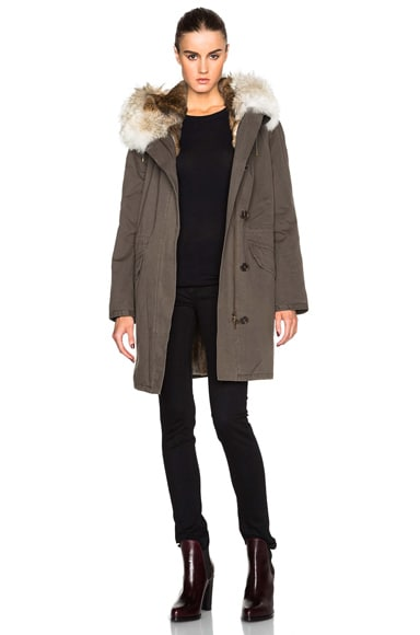 Army by Yves Salomon Classic Rabbit & Coyote Parka in Treille Natural