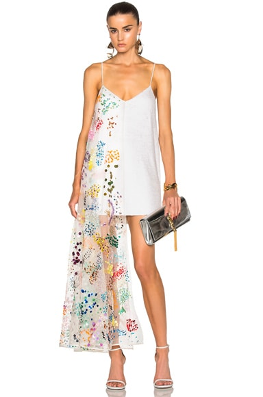 Ashish Sequin Slip Dress in White Sprinkles