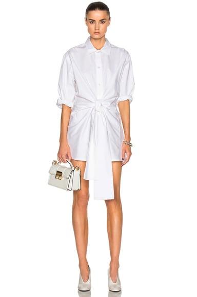 Ashish Bow Shirt Dress in White Cotton
