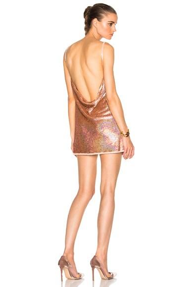 Ashish V Neck Backless Dress in Glitter Nude