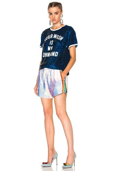 Sequin Shorts w/ Rainbow Stripe