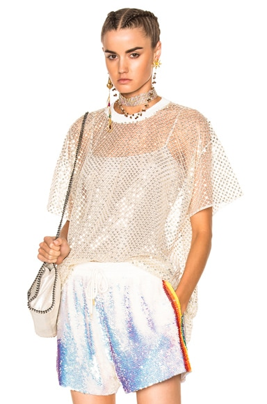 Oversized Net T-Shirt With Stardust
