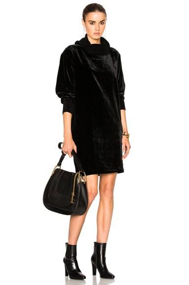 ATM Anthony Thomas Melillo Drapey Velvet Dress in Black