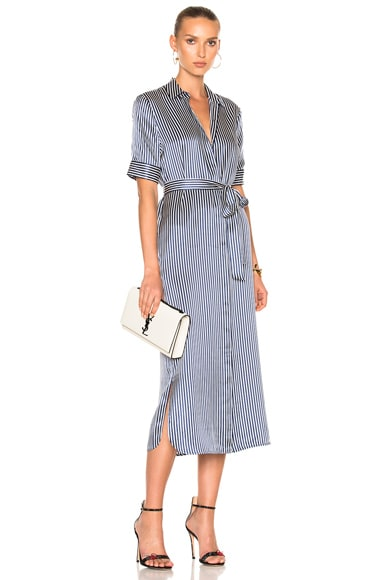 ATM Anthony Thomas Melillo Shirt Dress in Midnight & Chalk Stripe