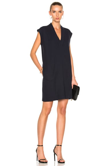 ATM Anthony Thomas Melillo Extended Shoulder V Neck Dress in Midnight