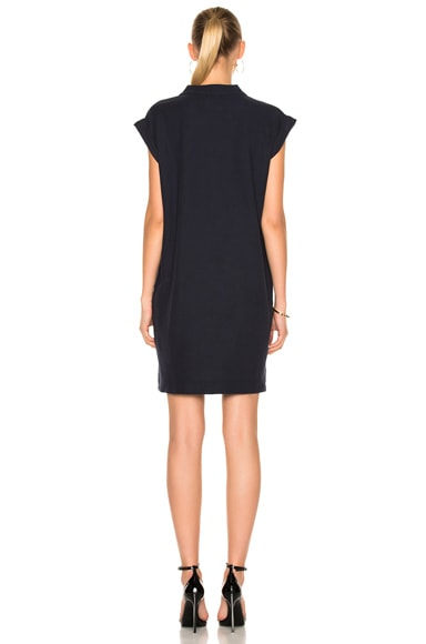 Extended Shoulder V Neck Dress
