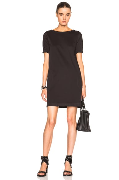 ATM Anthony Thomas Melillo Mercerized Cotton 3/4 Sleeve Dress in Black