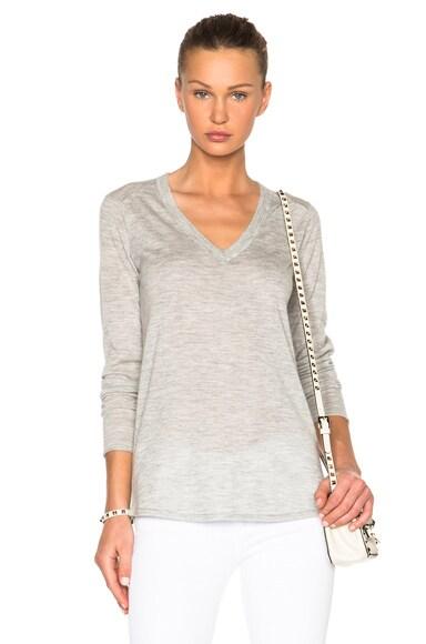 ATM Anthony Thomas Melillo V Neck Sweater in Heather Grey