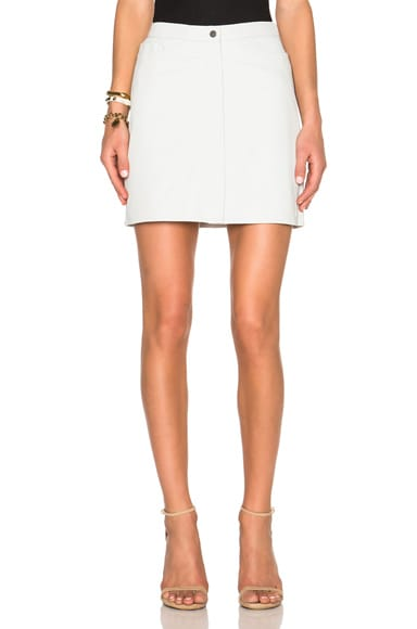 ATM Anthony Thomas Melillo Leather A Line Skirt in Pearl