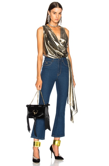 Pipe Draped Crossover Sleeveless Top