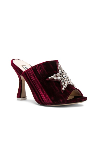 Velvet Debbie Mules with Star Embroidery