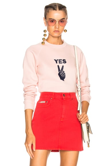 YES Peace Sign Flock Print Sweatshirt