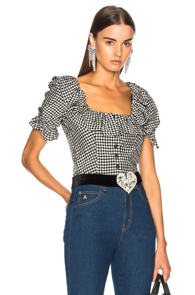 Cropped Frill Button Front Blouse