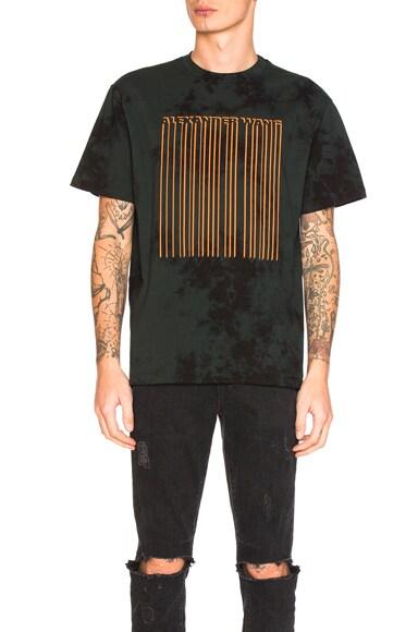 Alexander Wang Tie Dye Barcode Short Sleeve Tee in Ivy