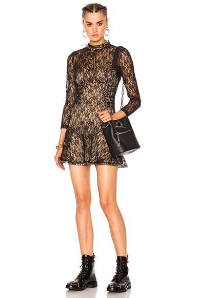 Alexander Wang Long Sleeve Contoured Mini Dress in Matrix
