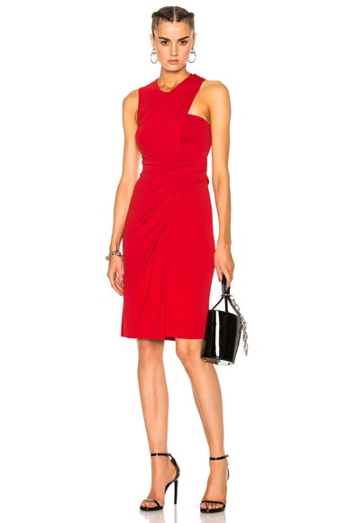 Alexander Wang Asymmetric Draped Midi Dress in Vermillion