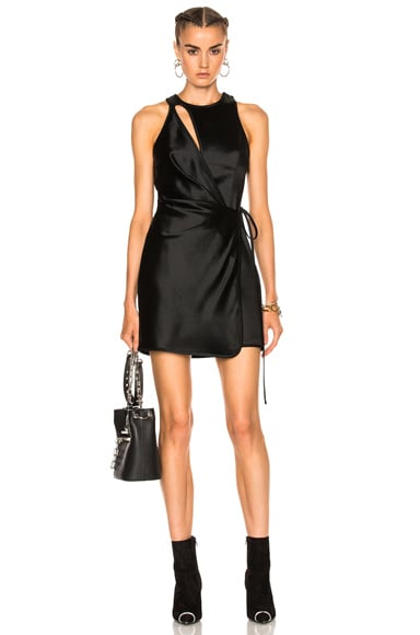 Asymmetric Swim Mini Wrap Dress