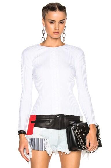 Alexander Wang Rib Flightsuit Lacing Sweater in White