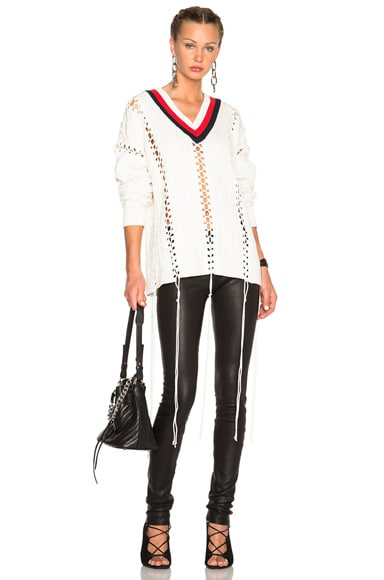 Alexander Wang Cricket Cable Sweater in Eggshell