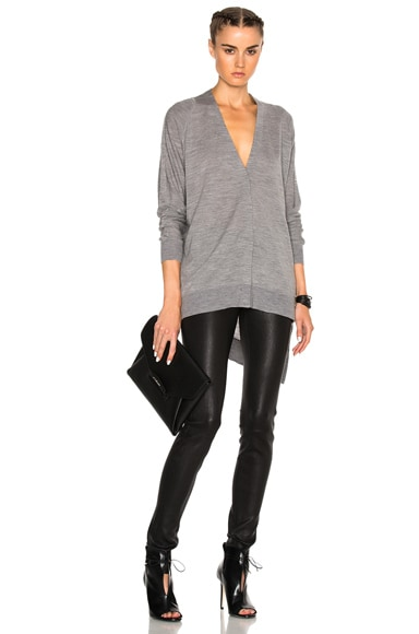 Alexander Wang V Neck Cardigan Sweater in Grey Melange