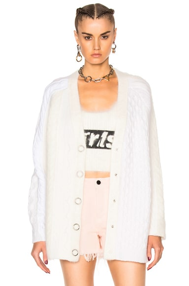 Alexander Wang Ring Snap Cardigan in Ivory
