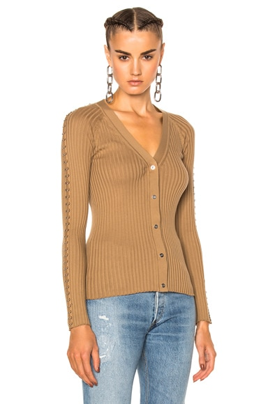 Alexander Wang Ribbed Cardigan in Safari