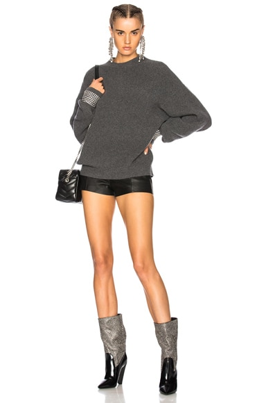Crew Neck Sweater with Crystal Cuffs