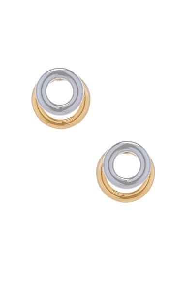 Alexander Wang Double Ring Earring in Imitation Rhodium & Yellow Gold