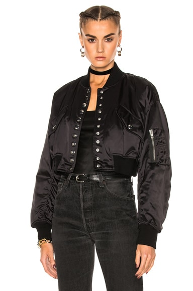 Alexander Wang Cropped Bomber Jacket in Matrix