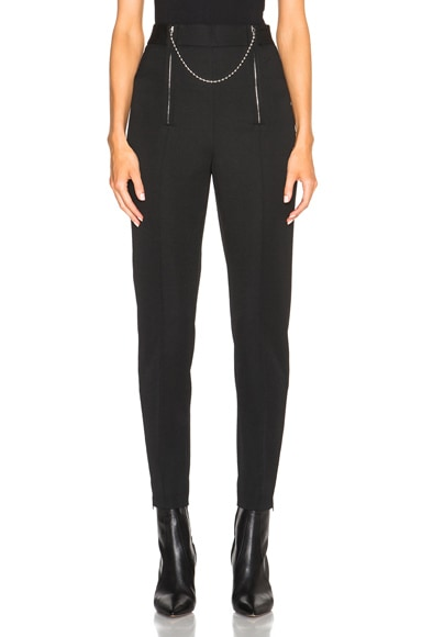 Alexander Wang Wool Tailoring Pants with Ball Chain Zipper in Nocturnal