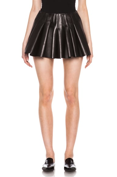 Irregular Seam Leather Skirt