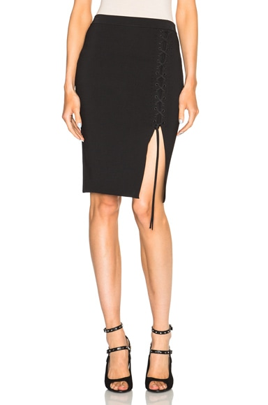 Alexander Wang Lace Up Skirt in Pitch