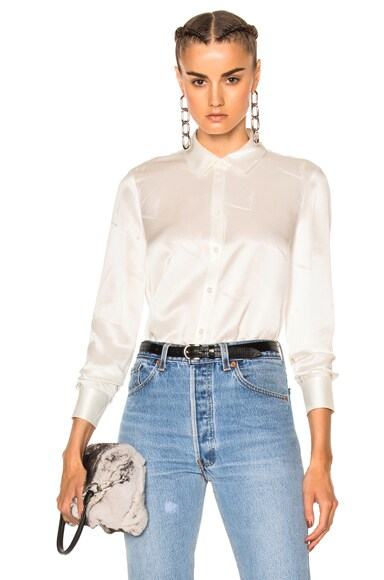Alexander Wang Straight Cut Button Down Top in Bone