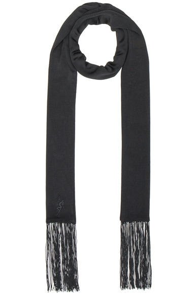 Alexander Wang Embroidered Fringe Scarf in Jet