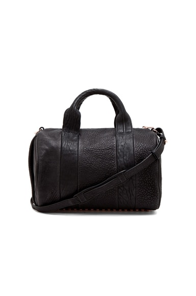 Alexander Wang Rocco Satchel with Rose Gold Hardware in Black