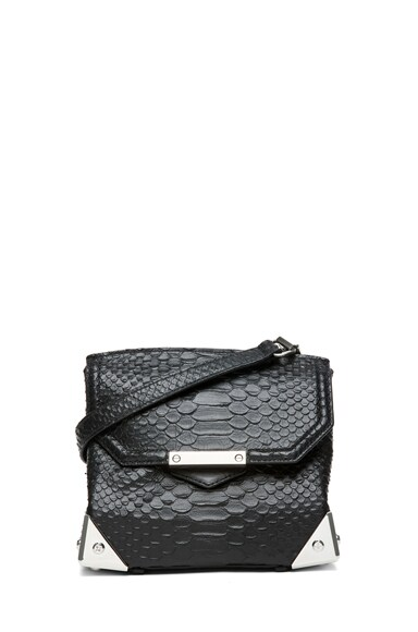 Marion Python Embossed Shoulder Bag with Rhodium