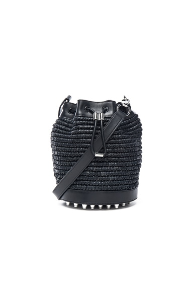 Alexander Wang Raffia Bucket Bag in Black