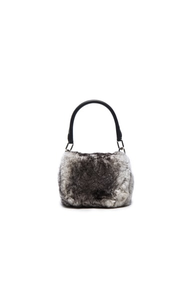 Alexander Wang Mini Rabbit Fur Rex Bag in Grey & White