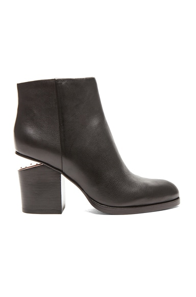 Alexander Wang Gabi Ankle Booties with Rose Gold Hardware in Black