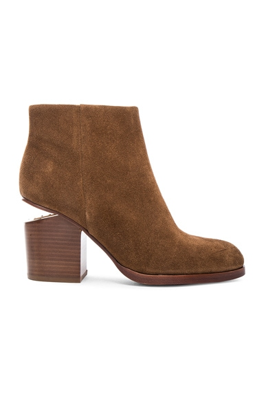 Alexander Wang Gabi Suede Booties in Dark Truffle