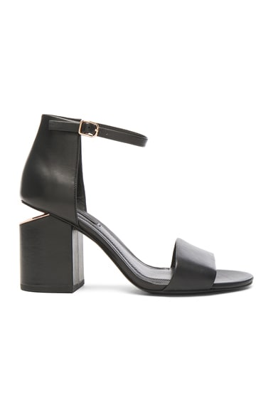 Alexander Wang Leather Abby Heels in Black & Rose Gold