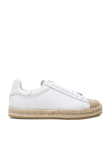 Alexander Wang Leather Rian Espadrilles in Optic White
