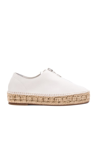 Alexander Wang Leather Devon Espadrille in Milk