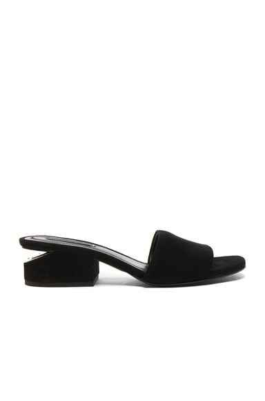 Alexander Wang Suede Lou Slides in Black