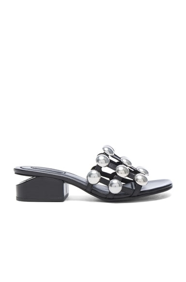 Alexander Wang Dome Stud Leather Lou Slides in Black
