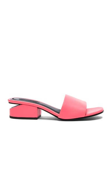 Alexander Wang Leather Lou Slides in Fluo Coral