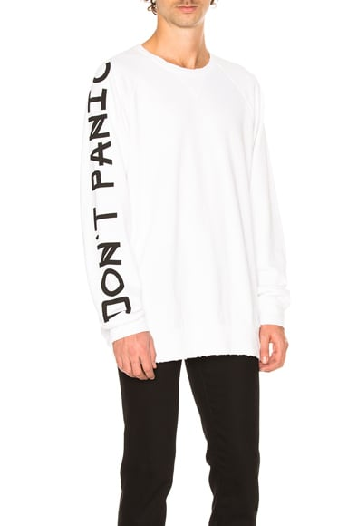 Baja East Don't Panic French Terry Sweatshirt in Pearl