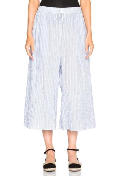 Baja East Cotton Stripe Cropped Wide Leg Pants in Cove
